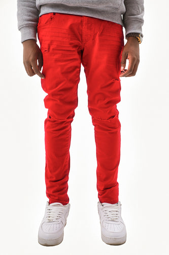 Twill Jeans with Blow Out Knees - Red