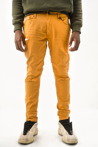 Twill Jeans with Blow Out Knees - Timber