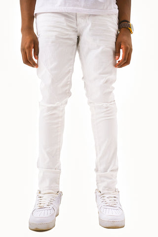Twill Jeans with Blow Out Knees - White