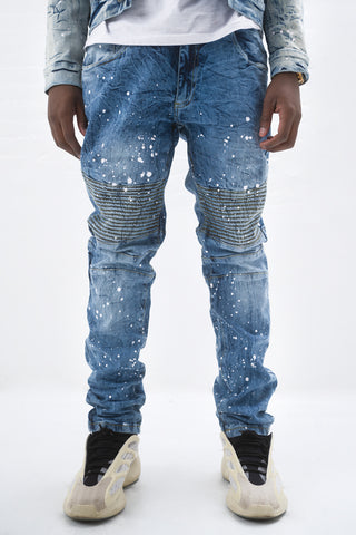 Paint Splatter Slim Stretch Moto Jean - Blue