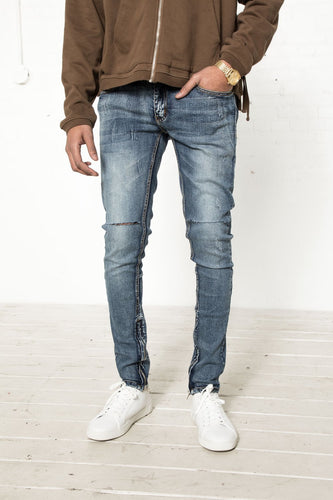 Classic Skinny Jean with Cut Knees - Indigo