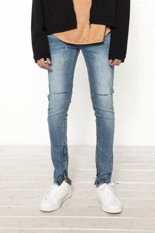 Classic Skinny Jeans with Cut Knees - Lt Indigo