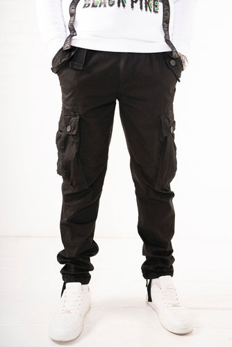 Slim Fit Belted Cargo Pants - Black
