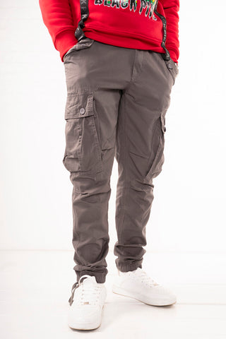 Slim Fit Belted Cargo Pants - Grey