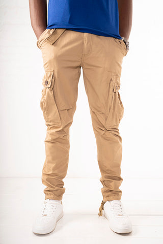 Slim Fit Belted Cargo Pants - Khaki