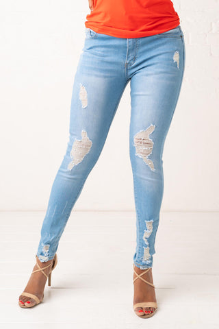 Light Wash Ripped High Waisted Skinny