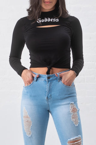 Goddess Keyhole Long Sleeve Top - Black