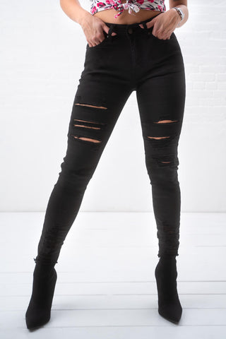 Black Slash Skinny Jean