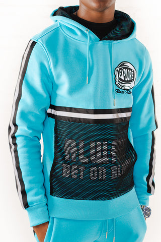 Hoodie with Neon Reflective Tape - Aqua