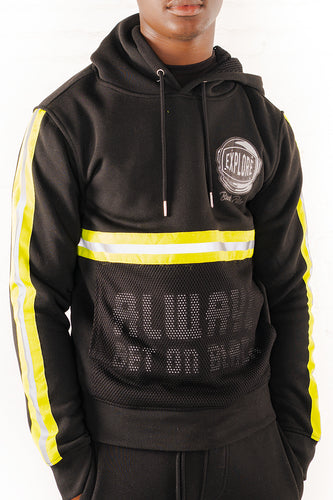 Hoodie With Neon Reflective Tape - Black