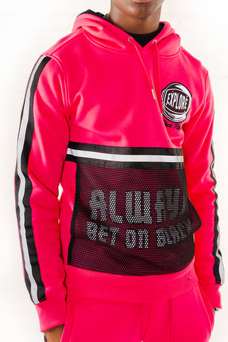 Hoodie With Neon Reflective Tape - Fuchsia