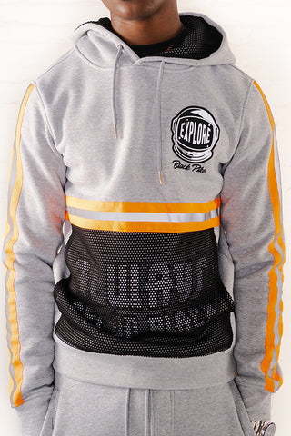 Hoodie With Neon Reflective Tape - H.Grey