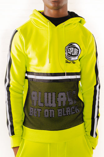Hoodie With Neon Reflective Tape - Lime