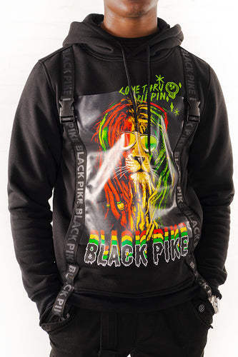 Dreadlock Lion Hoodie With Straps - Black