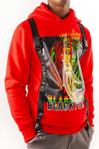 DreadLock Lion Hoodie with Straps - Red