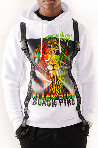 Dreadlock Lion Hoodie with Straps - White
