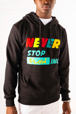 """Never Stop Flowing"" Chenille Patch Hoodie - Black"