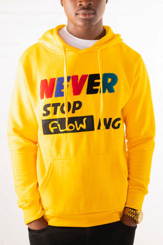 """Never Stop Flowing"" Chenille Patch Hoodie - Gold"