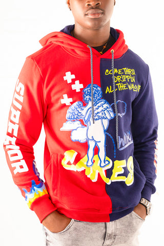 "Colorblock ""Cupid"" Hoodie - Red/Navy"