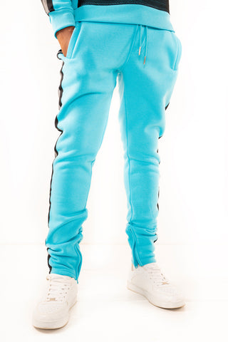 Fleece Pants with Reflective Tape - Aqua
