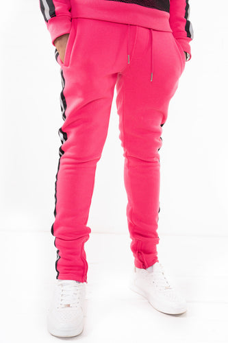 Fleece Pants with Reflective Tape - Fuchsia