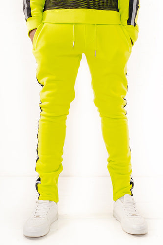 Fleece Pants with Reflective Tape - Lime