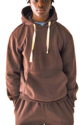 Core Essential Fleece Pullover Hoodie - Brown