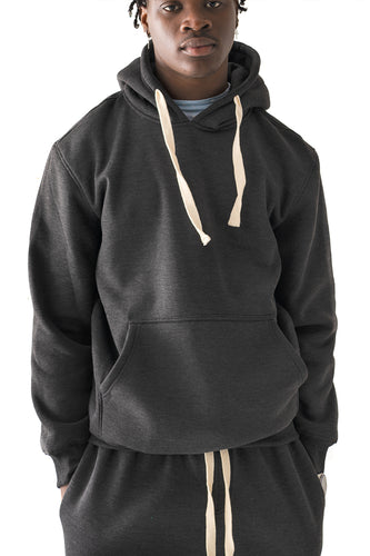 Core Essential Fleece Pullover Hoodie - Charcoal