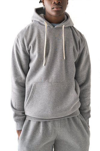 Core Essential Fleece Pullover Hoodie - Heather Grey