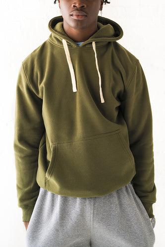 Core Essential Fleece Pullover Hoodie - Olive