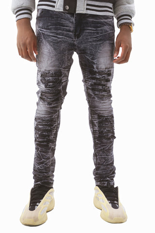 Acid Wash Skinny Stretch Moto Jeans - Black Wash