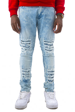 Acid Wash Skinny Stretch Moto Jeans - Ice Blue