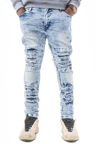 Acid Wash Skinny Stretch Moto Jeans - Lt Blue