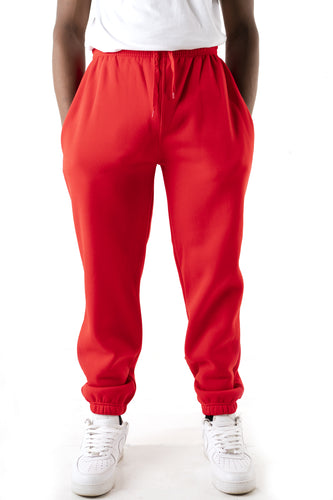 Basic Essential Fleece Sweatpants - Red