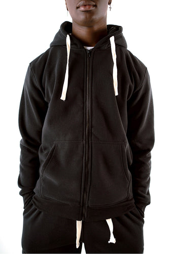 Core Essential Fleece Full Zip Hoodie - Black