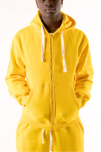 Core Essential Fleece Full Zip Hoodie - Gold
