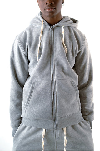 Core Essential Fleece Full Zip Hoodie - Grey