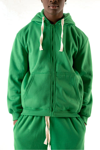 Core Essential Fleece Full Zip Hoodie - Kelly Green