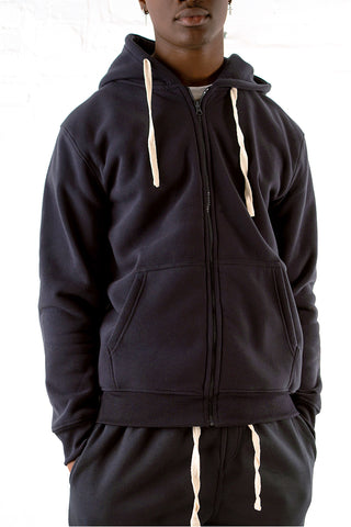 Core Essential Fleece Full Zip Hoodie - Navy