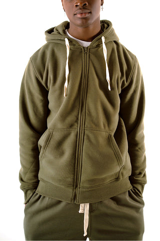 Core Essential Fleece Full Zip Hoodie - Olive