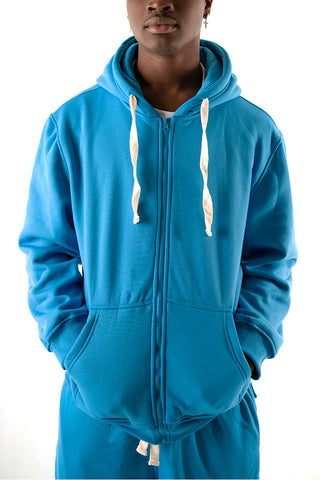 Core Essential Fleece Full Zip Hoodie - Turquoise