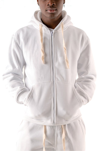 Core Essential Fleece Full Zip Hoodie - White