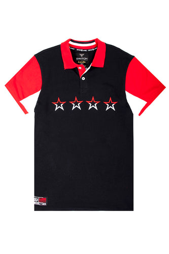 Embroidered 4 Stars Polo - Black (navy)