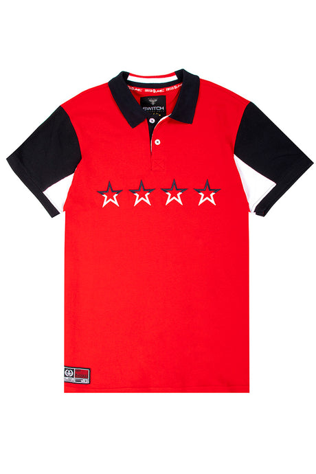 Embroidered 4 Stars Polo - Red