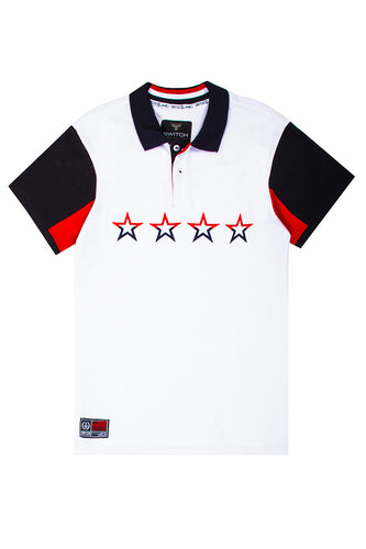 Embroidered 4 Stars Polo - White