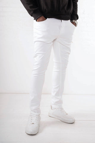 Washed Skinny Jean - All White Twill