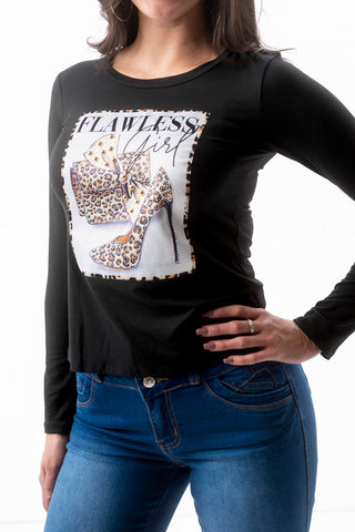 Flawless Girl Patch Top - Black