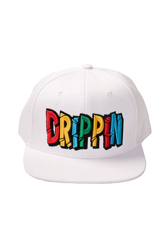 Drippin - Snap Back Hat - White