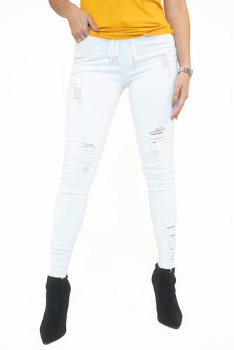 High Waist Distressed Twill Pant - White