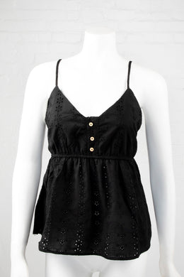 Spaghetti Strap Top with Floral Eyelets - Black